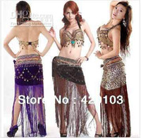 Belly Dancing Sequin Sheer 2014 Hot 2pcs set sexy suit tribal belly dance dancing dress costume theatrical top bra hip scarf