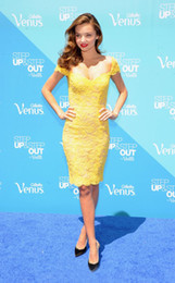 Wholesale 2014 New Arrival Miranda Kerr Yellow Lace Sheer Straps Sheath Prom Dresses Short Party Pageant Beauty Gowns Sexy