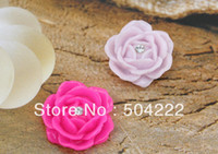 Beaded Necklaces Unisex  set of 50pcs big Flatback Resin peony rose flower Cabochons w rhinestone assorted colors for handmade jewelry 0.9inch