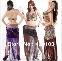 Wholesale 2pcs set sexy suit tribal belly dance dancing dress costume theatrical top bra hip scarf