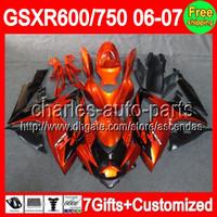 Wholesale Suzuki Gsxr Fairing Orange K6 - 7gifts+Seat cowl Orange black For SUZUKI GSXR 600 750 06-07 GSXR600 GSXR750 C#L66 Orange GSX R600 R750 K6 06 07 2006 2007 Fairings On Sale