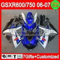 7gifts+ Seat cowl For SUZUKI Blue white GSXR 600 750 06- 07 GS...