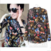 Women Polo Fashion Tee New Popular spring new Fashion women's clothing half sleeve skull heads print forked tail punk lady long shirt