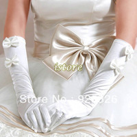 Wholesale 1pair New Lady Wedding pearl satin gloves Bridal Opera White Long Finger Gloves bowknot gloves Wedding Accessories