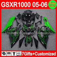 7gifts+ Seat cowl For SUZUKI GSXR1000 K5 Green flames 05- 06 G...