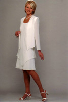 mother of the bride dress - New Style Summer Clothing Set White Mother Of The Bride Long Jacket Chiffon Mother Dresses Knee Length Cusotm Made