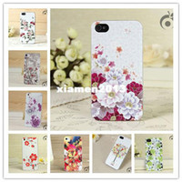 For Apple iPhone Plastic Case Cases for apple iphone 5 5s floral brand design mobile cell phone case colour relief luxury back covers retail one piece