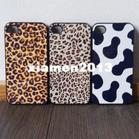 For Apple iPhone Plastic Yes Free shipping 2014 New Leopard print cow phone case cover for iphone 4 4s or 5 Cute Patterns 6pcs 40% off