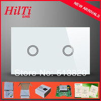 Touch Screen   2014 NEW Arrival Tempered Glass Panel 2Gang Light Switches US Standard,Wall Switch with blue LED backlight, AC110-240V