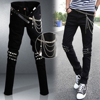 Wholesale Men s Fashion Slim Jeans Boys Trousers Feet Of High Quality Black Rivet Jeans