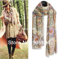 Wholesale NEW Spring Trendy Fashion Womens Totem Retro Bohemia Floral Print Silk Scarf Noble Shawl Ladies Long Scarves Pashmina