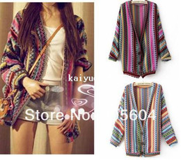 Wholesale Fashion Designer Boho Ethnic Colorful Wave Stripe Knitted Women Top Sweater Cardigan Women Clothes Ladies Clothing
