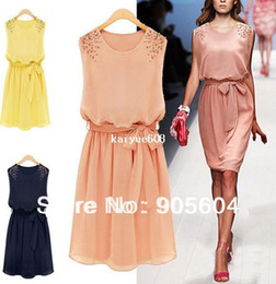 Wholesale 2014 Korean Designer Fashion Women s Chiffon Sleeveless Shoulder Handmad Beads Mini Dress Sundress Chic Belt Ladies Girls Skirt