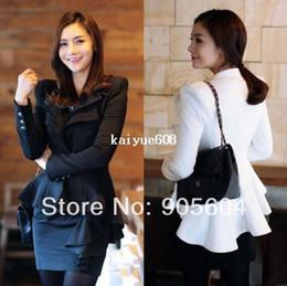 Wholesale 2014 Spring New Fashion Women s Elegant Slim Suit One Button Solid Blazer Ladies Casual Swallowtail Jacket Coat Tops White Black