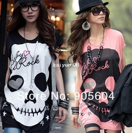 Wholesale Promotion Fashion Trendy Casual Shirt Women s Blouses Loose Japanese Punk Skull Pettern Sexy Fun Tops Ladies T Shirt Girsl