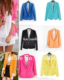 Wholesale HOT Fashion Women s Clothing One buckle Slim Casual Sleeve Suit Jacket Blazers