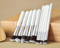 Wholesale Professional White Silver Pro Foundation Blush Liquid Brush Kabuki Makeup Brush Set Cosmetics Facial Tools ZH1215ten