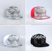 Wholesale Pyramid Plastic Studs Bling Flat Hip Hop Cap Rivet Spikes Hat Rock Punk