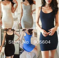 Wholesale Fashion Women s Sexy Scoop Neck Sleeveless Slim Fitted Clubwear Party Mini Dress Skirt Ladies Nightwear Bodycon Bar Dresses