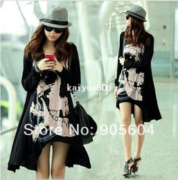 Wholesale shirt Spring Fashion Women Punk Skull Skeleton Long Sleeve Loose Asymmetrical Hem Dress Ladies Summer Clothing