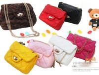 Wholesale EMS Princess Girls Leopard Candy Color Plush Messager Bags Children Accesories Metal Chain Diamond Plaid Handbags Kids Hand Bag D1719