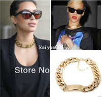 Wholesale Fashion Aluminium Alloy Light Gold Chunky Curb Chain Link ID Bib Choker Necklace