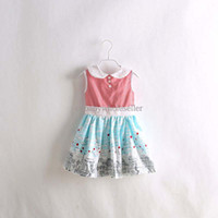 Wholesale 2014 Summer New Arrival Girls Dresses Hot Pink Cotton Stripped Top With Blue And White Hem Girls Princess Casual Dresses GD40415 GD40415