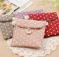 Fabric Tools  Fresh polka dot fluid sanitary napkin bag health cotton portable bag