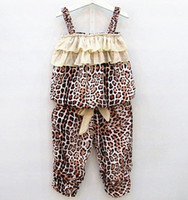 Cheap Summer Girls 2pcs Sets Kids Leopard&Striped Ruffles Suspender Tops+Pants Outfits Children Clothing Vest Layered Bow Short Pants Sets H0132