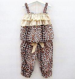 Wholesale Summer Girls Sets Kids Leopard Striped Ruffles Suspender Tops Pants Outfits Children Clothing Vest Layered Bow Short Pants Sets H0132