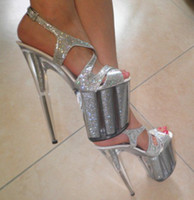 Wholesale Shining Silver CM Sexy Super High Heel Platforms Pole Dance Performance Star Model Shoes Wedding Shoes