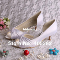 Wholesale Low Heels Shoes Lady Women Pump Open Toes Ivory Satin Wedding Shoes Bride Size
