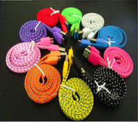 10colors For Samsung  Free Shipping 1m Colorful Braided Woven Fabric Nylon Flat noodle Data Charge Cable for Samsung Galaxy Note 3 N9000 N9005 N9006