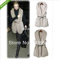 Wholesale Fashion Women s Oversized Faux Lamb Fur Long Hooded Fleece Vest Jacket With Belt Ladies Streetweat Girls Winter Coat Clothing