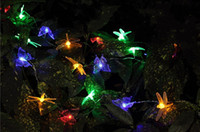 Wholesale 2014 New Solar powered colorful changing Butterfly dragonfly LED light strip home garden decor set