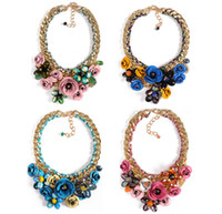 Wholesale Europe style gold plated woven handmade chain luxury print metal colorful crystal beads statement flower necklace