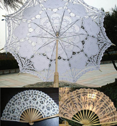 Wholesale Brand Handmade Cotton Lace Bridal Umbrella Wedding Parasol and Fan
