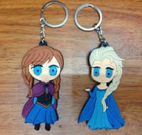 Wholesale Frozen Key Chains Soft Rubber Cartoon Anna Elsa Keychain pendant