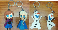Wholesale New arrival Frozen Key Chains Soft Rubber Cartoon Anna Elsa Keychain pendant
