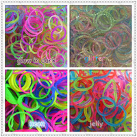 Charm Bracelets Unisex Fashion Rainbow colors loom Refills rubber Bands Glitter Bands +Glow in the dark +Fluorescent(neon)+Jelly bands mixed colors 200bags