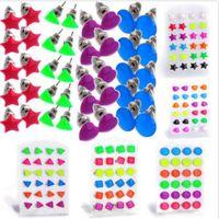 Wholesale Styles Pairs Star Heart Shape Glow In Dark Luminous Ear Studs Earring JE06031 JE06036