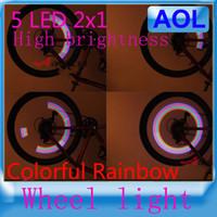 Wholesale 10pairs Colorful Rainbow LED Bikes bicycle Wheel Signal Lights Tire Wheel Valve Led Flash Light High brightness