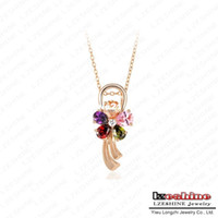 Pendant Necklaces Women's Fashion Multicolor Flower Fashion Luxurious Necklace 18K Gold Plated Swiss Cubic Zirconia Diamond Pendant Necklace Wholesale JS-NL0030