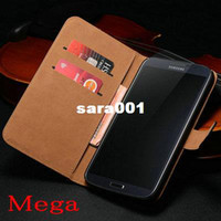 Universal other Yes Black Genuine Leather Wallet Case For Samsung Galaxy Mega i9200 6.3 Luxury Book Flip with Stand Card Slot Holder New Arrival