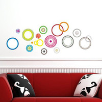 Wholesale 1 set cm Colorful Circle Living Room Vinyl Wall Art Decals D Round Wallpaper On The Wall For Bedroom Wall Stickers DM57