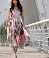 Casual Dresses Strapless Ankle Length NEW ARRIVAL Korean fashion women long maxi Chiffon dresses boho silk Floral dress beach skirt