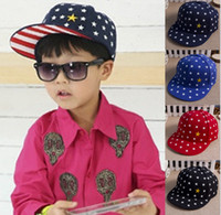 Wholesale 2016 Spring Summer Children Baseball Caps Snapback Hat embroidery star flat brim hat Kids boys and girls adjustable Hip hop hat for Y