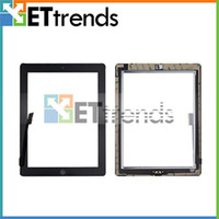 Wholesale Touch Screen for iPad Glass Digitizer Assembly with Home Button amp M Adhesive Glue Sticker Replacement Repair Parts Black White AA0084