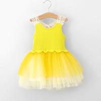 TuTu Summer Pleated 2014 Summer New Arrival Baby Girls Kids Dresses Jumper Skirt Hollow Tiered Veil Super Tutu Vest Dress Children Clothing 3 Color Yellow DR13