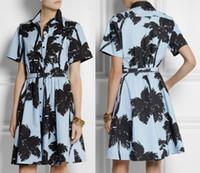 Wholesale New Palm Tree Print Cotton Poplin Women Dress